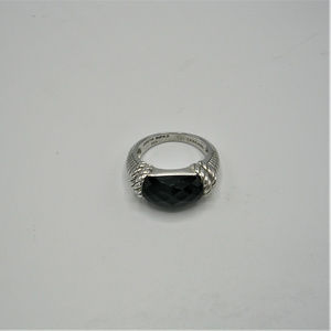 Judith Ripka Faceted Onyx and Sterling Silver Ring